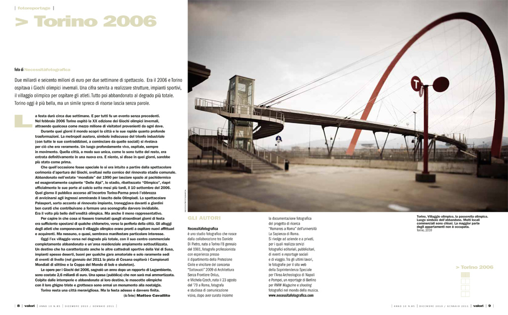 Reportage: architectures of Torino 2006 on the magazine Valori. copyright © _nf