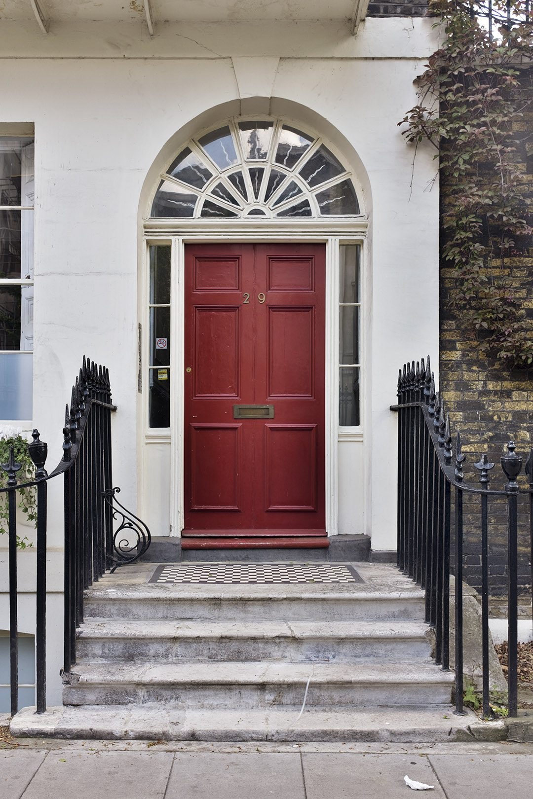 A red London typical door