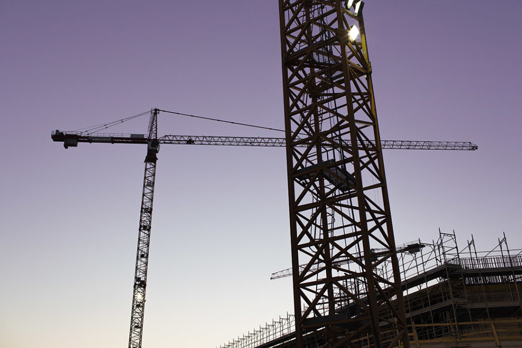 Cranes at work in the evning
